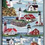 100% cotton lighthouses of Maine throw